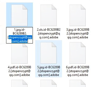 File tebusan ditambahkan dengan ekstensi .adobe