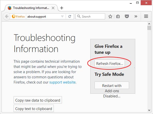 Atur ulang Mozilla Firefox