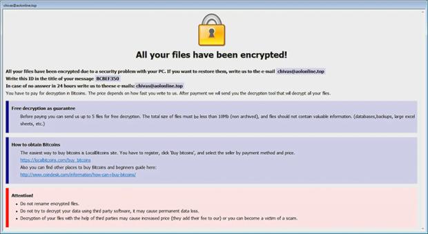 Info.hta catatan tebusan oleh ransomware Arena