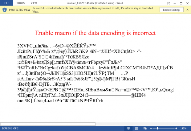 Locky menyebar melalui file Microsoft Word