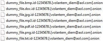 Tampilan file yang dipengaruhi ransomware Onion