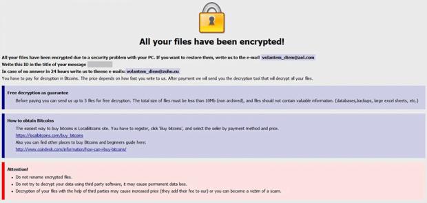 Peringatan ransomware Onion dengan sorotan pemulihan awal