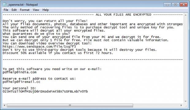 Rumba ransomware menyediakan langkah-langkah dekripsi dalam file _openme.txt